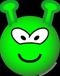 Groene buitenaardse emoticon