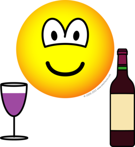 Wijn drinkende emoticon